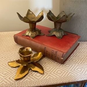 Vintage Brass Lotus Floral Candle Holder Gold